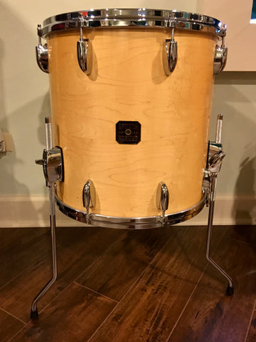 1980s Gretsch Square Badge 16X16 Floor Tom Natural Maple