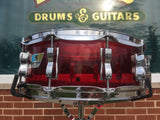 1970s Ludwig 5x14 Vistalite 10 Lug Snare Drum Red
