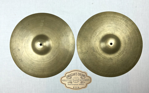 "13"" Zildjian A 1940's Pre-Trans Stamp Hi-Hat Pair - Thin! 540g & 546g- Inventory # 156"