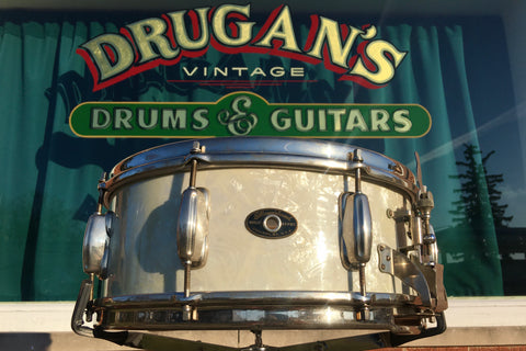 1950s Slingerland Radio King 5.5x14 White Marine Pearl Snare Drum Solid Shell