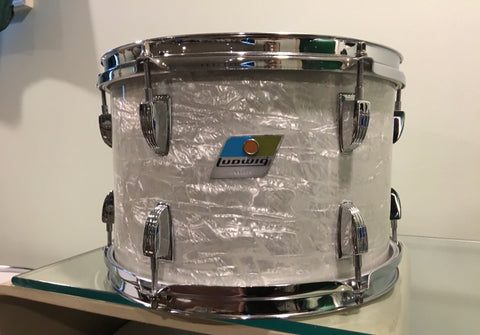 1970s Ludwig 8x12 Down Beat Tom Drum White Marine Pearl 3Ply
