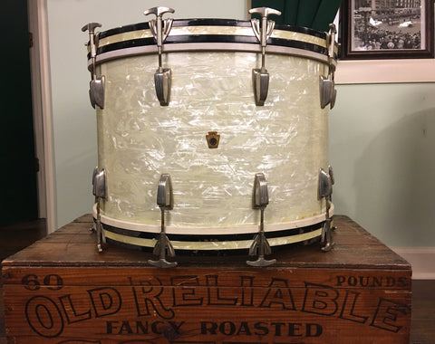 1948-52 WFL Ludwig 14x22 Virgin Bass Drum White Marine Pearl
