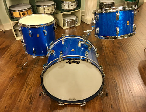 1965 Ludwig Down Beat Drum Set - Blue Sparkle 20/12/14