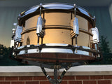 "Rare Vintage 1979/80 Ludwig 6.5""x14"" Smooth Bronze/Brass ""B"" Stamp Snare Drum"