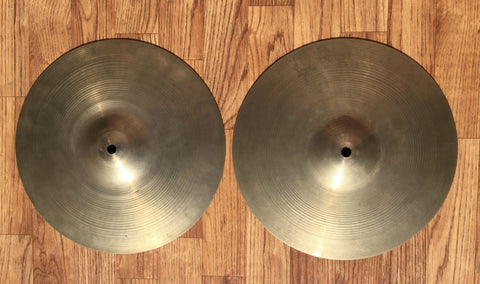 "12"" 1960's Zildjian A New Beat Hi-Hat Cymbal Pair 570g/688g - Inventory #249"