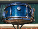 1959/60 Gretsch Round Badge Broadkaster Name-Band Drum Set - Blue Glass Glitter 22/13/16/5x14 Snare