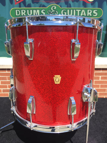 Vintage 1960s Ludwig 14 X14 Keystone Floor Tom Red Sparkle