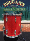 "Vintage 1960s Ludwig 14""x14"" Keystone Floor Tom Red Sparkle - Stunning!"