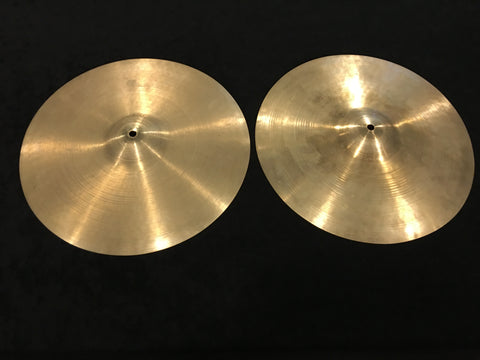 "14"" Early 1950s Zildjian A Trans Stamp Hi Hat Cymbal Pair 728/732g #519"