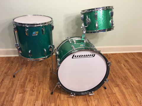 1970s Ludwig Jazzette Green Sparkle Drum Set 18/12/14
