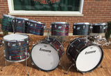"Ludwig 1970s Psychedelic Red Octa-Plus Set - Twin 24"" Bass Drums!"