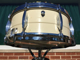 "Premier Olympic 1150W White Enamel over Brass 6.5""x14"" Snare Drum"