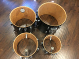 Vintage Sonor Phonic Drum Set 9 Ply Beachwood Clean & Original - Black 4pc