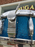 "Vintage 1960's Gretsch 5.5""x14"" Round Badge Blue Sparkle Name Band Snare - Nice!"