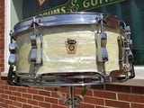 1960 Ludwig Trans Badge Keystone Jazz Festival Snare White Marine Pearl - NICE!