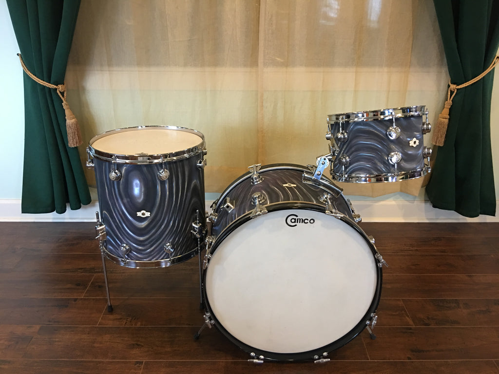 1960s Camco Aristocrat Oaklawn Charcoal Moire Drum Set 22 12 16 Drugan S Drums Guitars