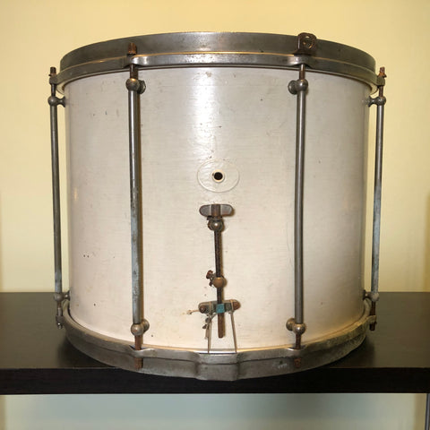 Vintage Ludwig 12x15 Mahogany Marching Snare Drum Painted White