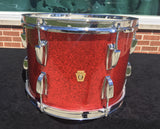 "Vintage 1960s Ludwig 9""x13"" Red Sparkle Super Classic Tom Drum - Stunning!"