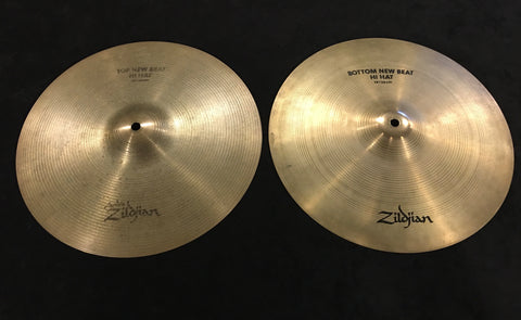 "14"" Zildjian A 1990s New Beat Hi Hat Cymbal Pair 1056/1336g #338"