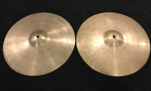 "14"" Zildjian A early '50s Trans Stamp Hi Hat Cymbal Pair 618/692g #497"