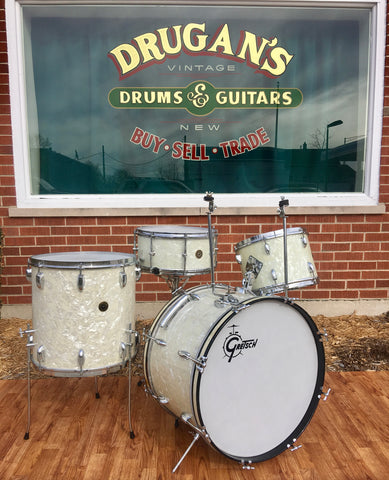 "1954 Gretsch BroadKaster ""Name Band"" White Marine Pearl Drum Set w/ 6.5x14 Gladstone Snare Drum *Time Capsule*"