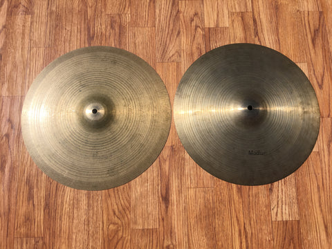 "14"" 1960s UFIP Hi Hat Cymbals Made In Italy 726/728g #513"