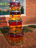 1970's Ludwig Tequila Sunrise Vistalite Rock Machine 24/13/14/18 Drum Set