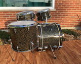 1964-65 Sonor Tear Drop Chicago Star Drum Set 22/13/16/5x14 Schwarts/Black w/Gold Sparkle