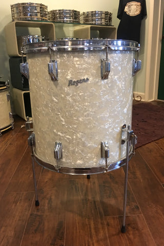 1960's Rogers Cleveland Holiday 16x16 White Marine Pearl Floor Tom Drum