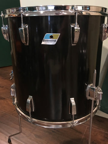 1970's Ludwig 16x16 3 Ply Floor Tom Black Cortex