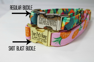 Coral Floral Canvas Dog Collar