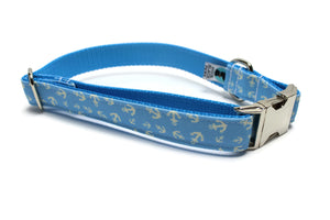 Blue Anchors Canvas Dog Collar