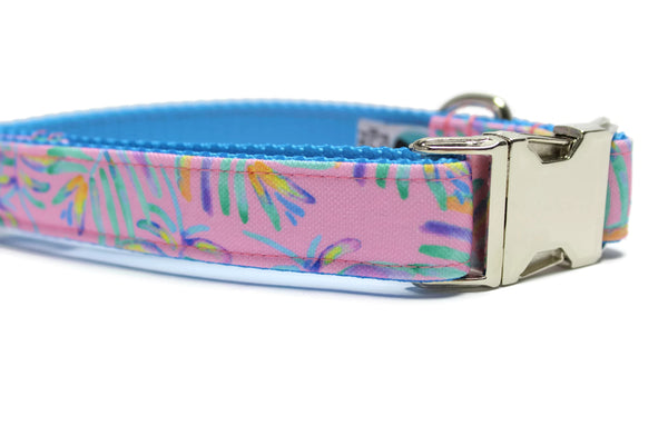 Pink Palms Canvas Dog Collar