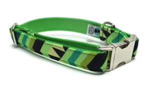 Green Chevron Canvas Dog Collar
