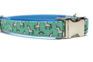 Mint Unicorn Canvas Dog Collar