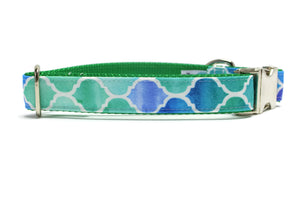 Green and Blue Mermaid Scales Canvas Dog Collar