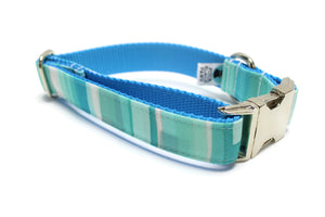 Blue Stained Glass Canvas Dog Collar