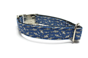 Blue Shark Canvas Dog Collar