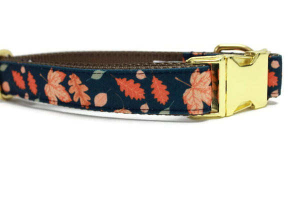 Fall Leaves Canvas Dog Collar