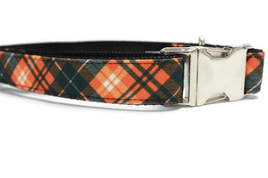 Pumpkin Spice Plaid Canvas Dog Collar
