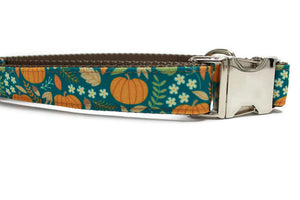Autumn Pumpkins Canvas Dog Collar