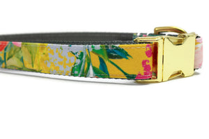 Mustard Floral Canvas Dog Collar