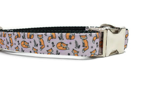Lavender Foxes Canvas Dog Collar