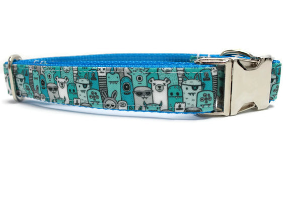 Blue Monster Canvas Dog Collar