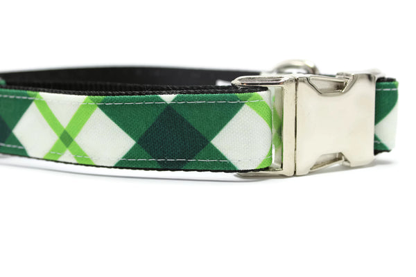 Green and White Plaid Canvas Dog Collar