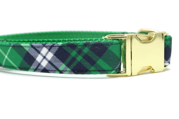 Green, Navy and White Plaid Canvas Dog Collar