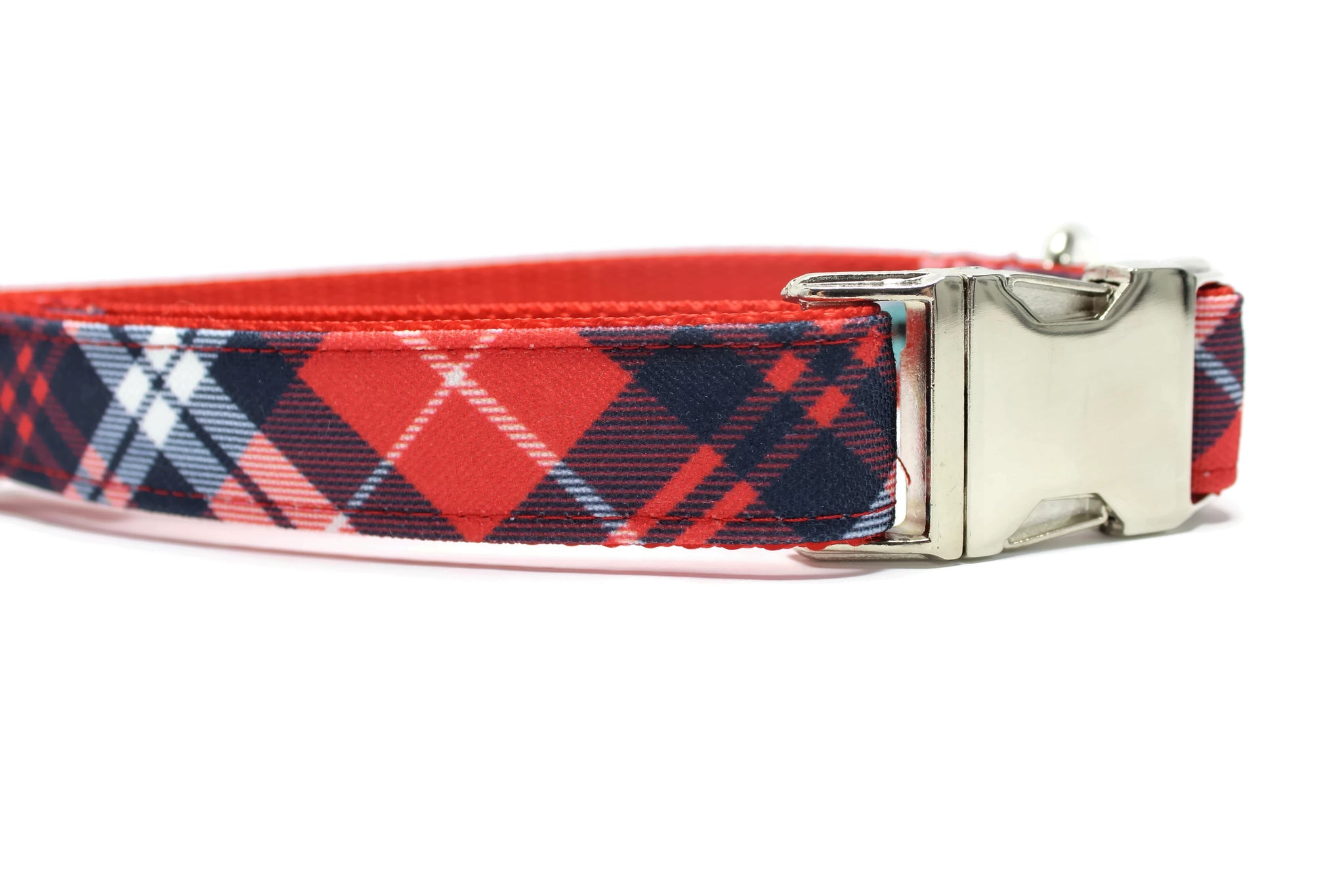 Red, Navy and White Canvas Dog Collar