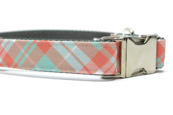 Coral, Mint and White Plaid Canvas Dog Collar