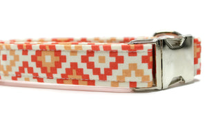 Orange Geometric Fabric Dog Collar