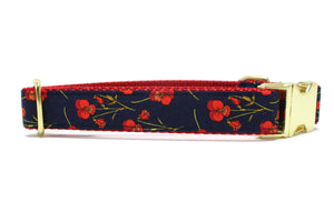 Navy and Red Floral Dog Collar